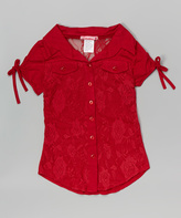 Red Lace Button-Up - Girls