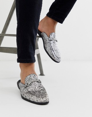 Asos Design DESIGN backless mule loafer in silver glitter with snaffle