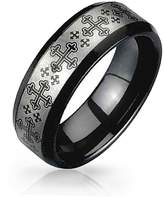 Bling Jewelry Medieval Cross and Tungsten Ring 8mm Silver Plated