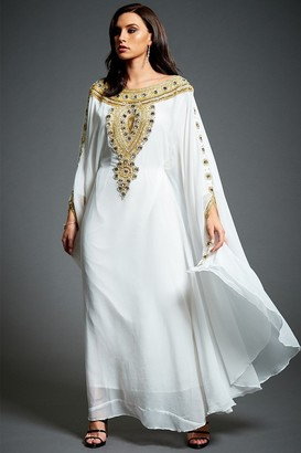 Linzi Jywal London Amira Off-White Embellished Kaftan Maxi Dress
