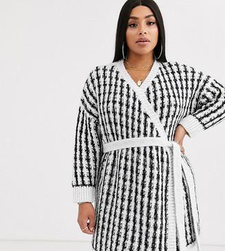 ASOS DESIGN Curve checked tinsel knit wrap cardigan dress