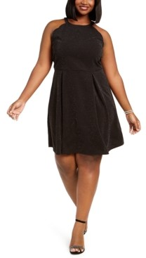 Monteau Trendy Plus Size Glitter Halter Dress