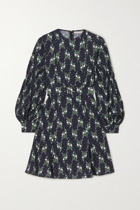 Emilia Wickstead Azzura Belted Floral-print Swiss-dot Cotton-seersucker Mini Dress - Blue