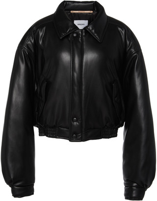 Nanushka Bomi Cropped Faux Leather Bomber Jacket