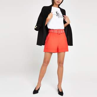 River Island Womens Orange belted shorts