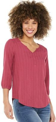 Women's SONOMA Goods for Life Smocked 3/4-Sleeve Blouse