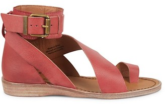 Free People Vale Ankle-Strap Leather Toe-Loop Sandals