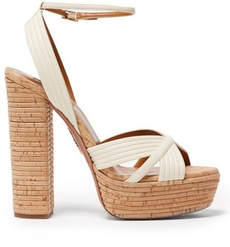 Aquazzura Sundance Plateau 140 Leather Platform Sandals - White