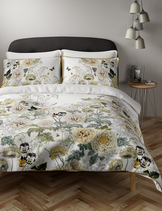 Marks and Spencer Pure Cotton Floral Piped Edge Bedding Set