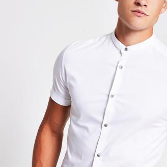 River Island White grandad collar muscle fit shirt