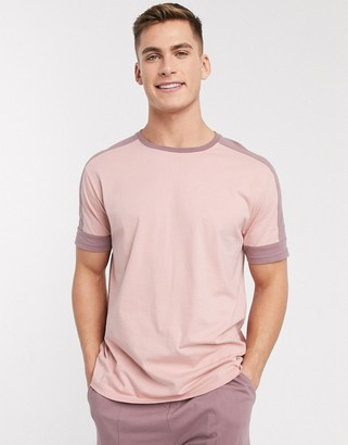ASOS DESIGN lounge t-shirt and short pyjama set in pink