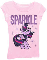 Asstd National Brand My Little Pony Girls' Sparkle with Stars Short Sleeve Graphic T-Shirt with Purple Glitter