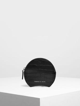 Charles & Keith Semi Circle Croc-Effect Mini Pouch