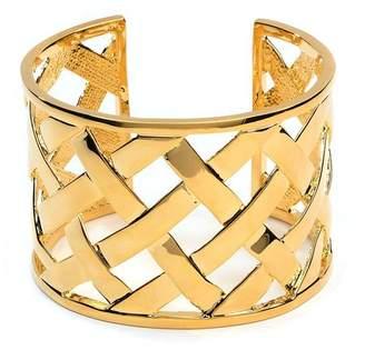 Kenneth Jay Lane Polished Gold Basketweave Cuff