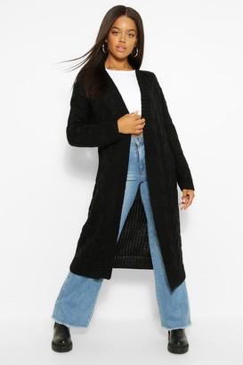 boohoo Cable Knit Maxi Cardigan