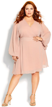 City Chic First Kiss Dress - soft pink