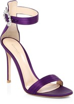 Gianvito Rossi Embellished Satin Ankle-Strap Sandals