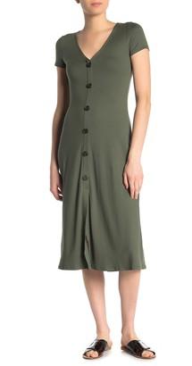 Love, Fire V-Neck Button Front Jersey Midi Dress