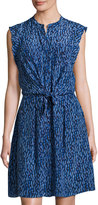 Rebecca Taylor Batik Mirage Twist-Front Silk Dress, Blue