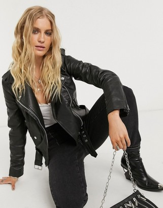 Object leather biker jacket with zip detail in black