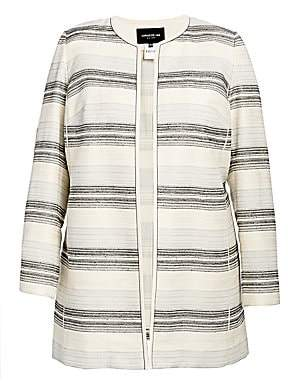 Lafayette 148 New York Lafayette 148 New York, Plus Size Women's Pria Striped Open-Front Jacket
