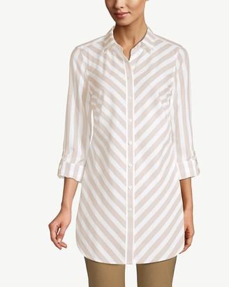 No Iron Cotton Striped Roll-Tab Sleeve Tunic