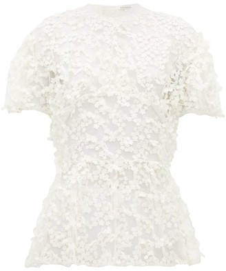 Cecilie Bahnsen Tammi Floral-embroidered Tulle Blouse - Ivory