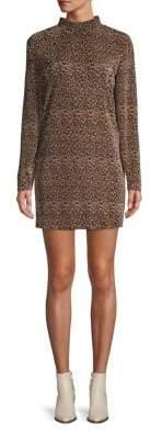 The Fifth Label Mock-Neck Leopard-Print Mini Dress