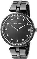 Nine West Women's NW/1741GMGN Swarovski Crystal Accented Gunmetal Bracelet Watch