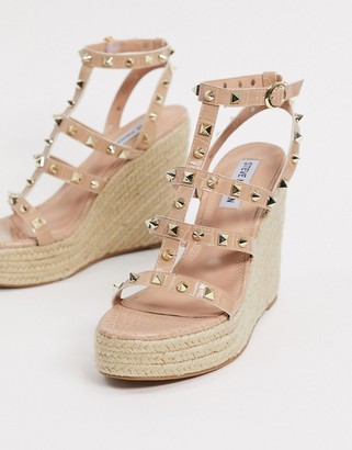 Steve Madden Kay studded caged wedge sandals in tan