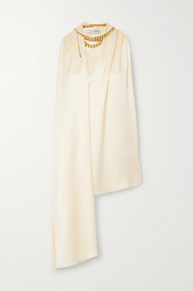 Oscar de la Renta Chain-embellished Draped Satin-crepe Top - Cream