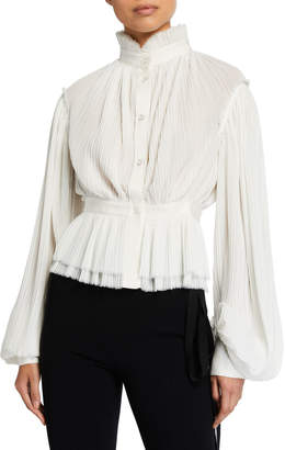 UNTTLD High-Neck Pleated Long-Sleeve Blouse