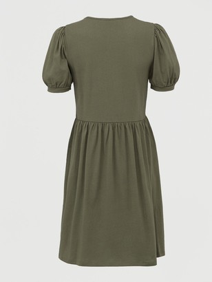 Very Jersey Puff Sleeve Peplum Mini Dress - Khaki