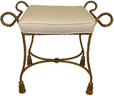 One Kings Lane Vintage Italian Rope-Style Stool - Adam Babicz Antiques - frame, gold; cushion, off-white