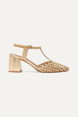 Souliers Martinez Sevilla Woven Leather Pumps - Gold