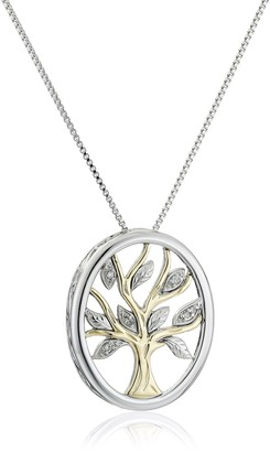 """Amazon Collection Sterling Silver and 14k Yellow Gold Diamond Accent Family Tree Pendant Necklace 18"""""""