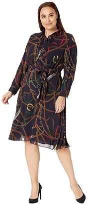 Lauren Ralph Lauren Plus Size Print Georgette Shirtdress (Lauren Navy Multi) Women's Clothing