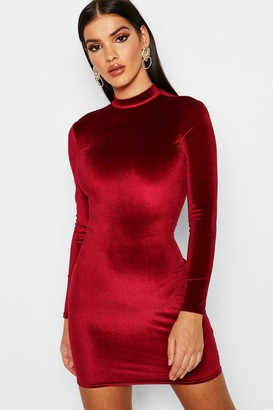 boohoo Velvet High Neck Bodycon Dress