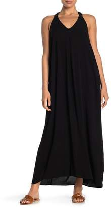 Love Stitch Gauze Neck V-Neck Racerback Maxi Dress