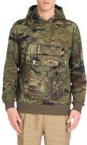 Givenchy Camouflage Money-Print Pocket Hoodie, Khaki