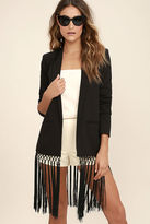 BB Dakota Aldred Black Fringe Blazer