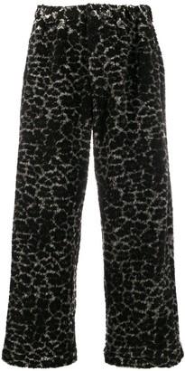 Maryam Nassir Zadeh faux fur leopard-print trousers