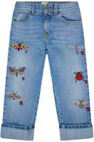 Gucci Insect Embroidered Jeans