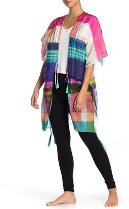 Josie Natori Colorblock Tassel Trim Cover-Up Wrap