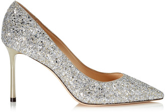 Jimmy Choo ROMY 85 Champagne Coarse Glitter Fabric Pointy Toe Pumps