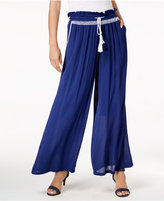 NY Collection Embroidered Drawstring Palazzo Pants
