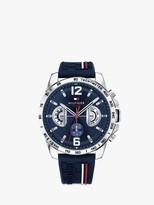 Tommy Hilfiger 1791476 Men's Decker Chronograph Silicone Strap Watch, Dark Blue