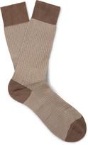 Pantherella - Fabian Herringbone Cotton-blend Over-the-calf Socks