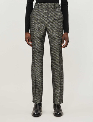 Fendi Metallic jacquard-pattern tapered wool-blend trousers