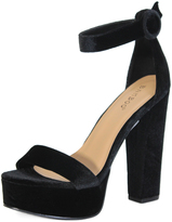 Bamboo Black Velvet Ankle-Strap Tournament Platform Sandal